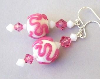 Pink earrings, pink awareness earrings, lampwork glass and crystal earrings, breast cancer awareness earrings, pink artisan lampwork