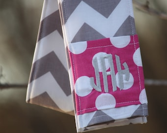 Camera Strap Cover- lens cap pocket and padding included- Monogrammed Grey Chevron/ Pink Dot