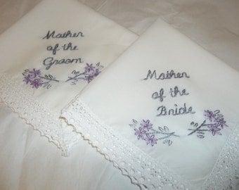 Mother of bride, mother of groom wedding handkerchief, set of 2,  hand embroidered, bouquet wrap, wedding favors, hanky