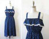 vintage blue sundress, vintage 80s navy blue ruffled sundress, medium dotted bows summer dress