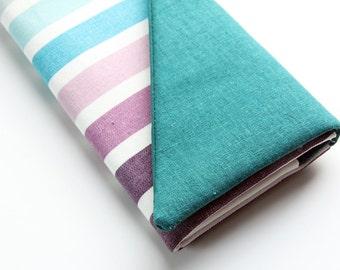 Clutch Wallet - Vegan Wallet, Smartphone Wallet, Ladies Wallet, Cute Wallet Clutch, Teal, Blue, and Purple Stripes