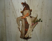Jingles Blue Ticking Snowman, Primitive, Rustic, Winter, Christmas, Snowman Doll, Ofg, Faap, Hafair