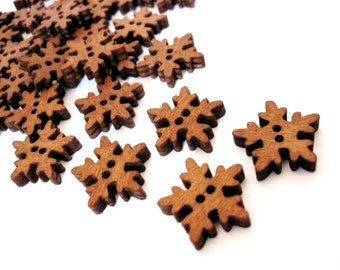 6 Snowflake Wooden Buttons - craft buttons 18mm  (BB097)
