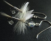 White Earrings Fishing Flies Sterling Silver - Fun Fly Female Fisherman Angler Fish Feather Crystal Sterling Silver Jewelry