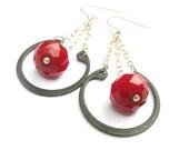 Red Quartz Hardware Chandelier Earrings - Industrial Goth Steel Modern Jewelry