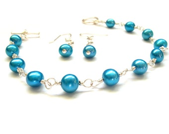 Teal Blue Freshwater Pearl Bracelet and Earring Set Contemporary Modern
