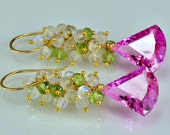 RESERVED-Pink Topaz Earrings Moonstone Peridot 14k Gold Fill Gemstone Wire Wrapped  Dangle Earrings