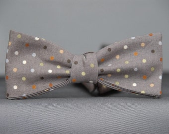 Multicolored Dots on Slate  Bow Tie