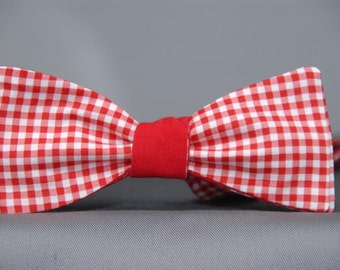 Red and White Double sided Gingham  Bow Tie