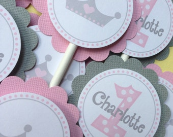 Pink and Grey First Birthday Princess Cupake Toppers
