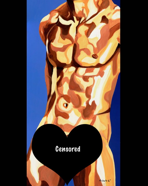 Male Figure Art Print - 16 x20 - Sucette, Figurative Painting Poster Print of a Nude Man- Mature
