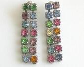 Vintage Long Drippy Pastel Colored Rhinestone Dangle Pierced Earrings