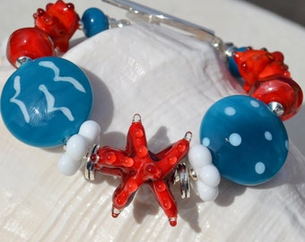 JUST BEACHY-Handmade Lampwork and Sterling Silver Bracelet