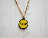 As If Funny Vintage Pendant Brass Necklace