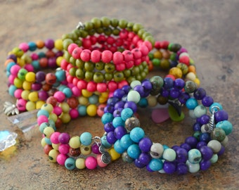 Five Bracelet Combo: Acai Beads Bracelets,  Memory Wire Bracelet / Eco friendly Jewelry, Organic Beads, Acai Seeds / Handmade
