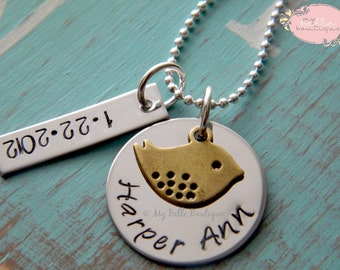 Personalized Hand Stamped Mommy or Grandma Necklace with Bronze Mama Bird Charm and Date Tag