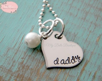 Personalized Hand Stamped Heart Shaped Necklace with Ivory Swarovski Pearl