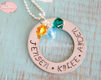 Personalized Hand Stamped Washer Necklace with Names and Swarovski Birthstones