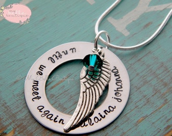 Personalized Hand Stamped Memorial Washer Necklace with Swarovski Birthstone and Silver Angel Wing Charm