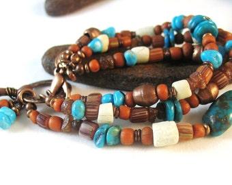 Triple Strand Turquoise Bracelet, Southwestern Bracelet, Copper Bracelet