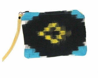 Guatemalan Cotton with Leather Back Cosmetic Case Handmade