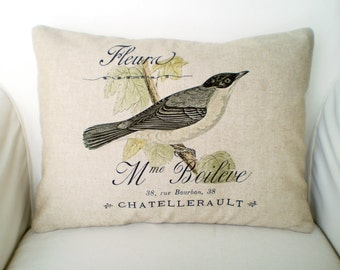 French Bird Pillow Cover, Lumbar Pillow, Decorative Throw Pillow, French Bird Print on Choice of Three Fabrics, One 12 x 16 or 12 x 18