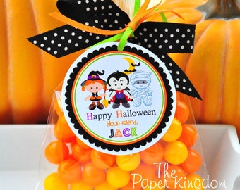 Halloween Hang Tags, Halloween Kids, Personalized Halloween Gift Tags, Party Favor Labels -Set of 12
