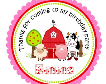 Barnyard Stickers, Personalized Farm Labels, Farm Animals, Barnyard Gift Tags -  set of 12