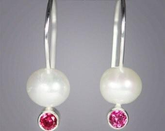 Pearl Drop Ear w-Stone (Ruby)
