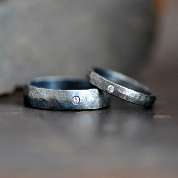 Hammered and darkened sterling silver ring band set with flush set diamonds, conflict free diamond, eco friendly jewelry