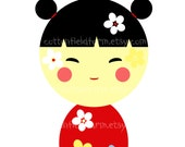 Little Japanese Doll 5 X 7, Instant Download C-590-A for transfers, heat press, decoupage, iron ons, aprons, totes, etc.