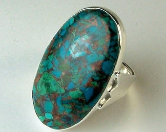 Elegant Vintage Handmade Sterling Silver and Copper Mohave Blue Turquoise Ladies High Fashion Ring
