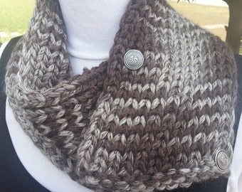 Taupe Shades Short Double Knit Scarf with Metal Shank Buttons - OOAK Handmade from an EtsyMom