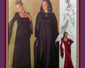 ENCHANTING Empire Waist Evening Gown- Sewing Pattern-Square Neckline- Fly-Away Sleeves-Cape with Hood-Contrast Lining-Uncut-Size 10-14-Rare