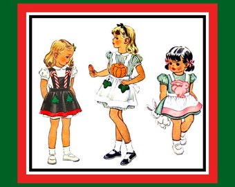 Vintage 1945-Holiday Pinafore Apron Collection-Toddler Sewing Pattern-Transfer- Bunny -Candy Canes -Pumpkins & Vines- Uncut- Size 6- 8- Rare