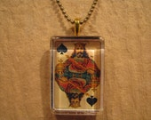 """Antique Playing Card King of Spades Rectangle Glass Pendant with 24"""" Ball Chain Necklace"""