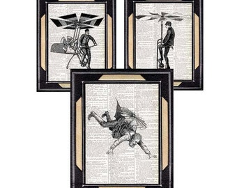Victorian FLYING Machines art print wall decor poster antique vintage illustration dictionary book page aviation black white Steampunk 8x10