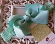 New Item----Boutique Baby Toddler Girl Hair Bow Clip with Lace Headband----MINT----