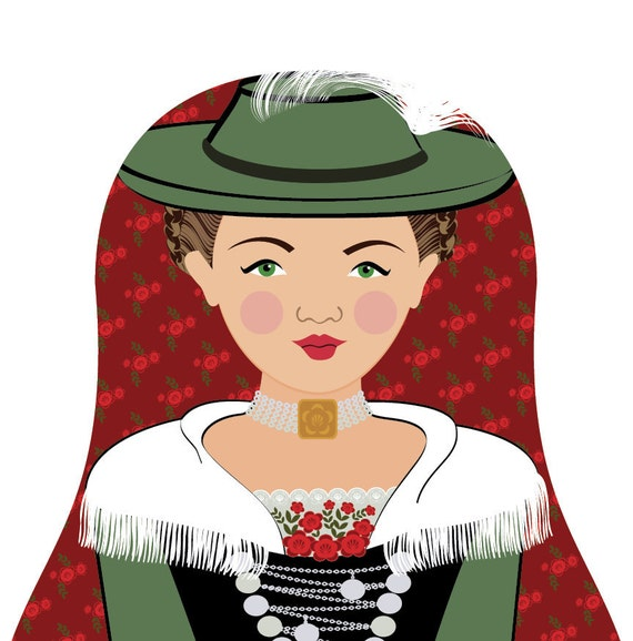 German Bavarian Doll Art Print with traditional dress, matryoshka