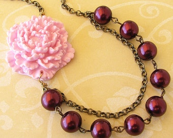 Flower Necklace Bridesmaid Jewelry Burgundy Necklace Pink Jewelry Maroon Statement Necklace Beaded Necklace Maroon Jewelry Gift For Her