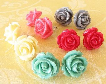 Stud Earrings Flower Jewelry Post Earrings Rose Jewelry Rose Earrings Bridesmaid Gift For Her