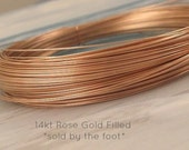 ROSE GOLD Wire, 26 gauge ga g, 14k Rose Gold Filled,  Bulk, half hard, round, Select Your Size, wholesale wire