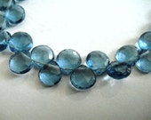 London Blue Quartz Heart Briolette Beads, 2 pcs FOCALS for Pendants, December Birthstone, Wholesale Beads, Brides, High Quality 7-8mm