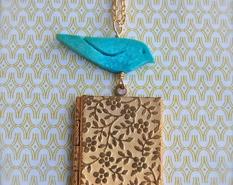 Turquoise Bird and Vintage Inspired Book Locket Necklace