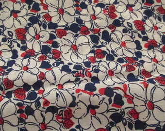 Vintage Cotton 1 yard x 44 inches wide Retro floral print