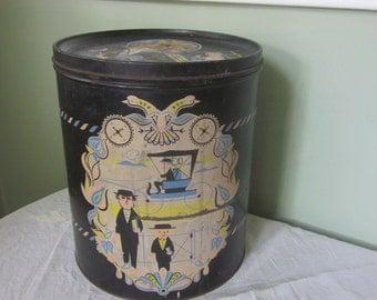 Large Metalware Storage Tin with Amish People Decor