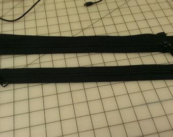 Black Medium Plastic Tooth 15 inch Zipper Two Way Zip closed Ends
