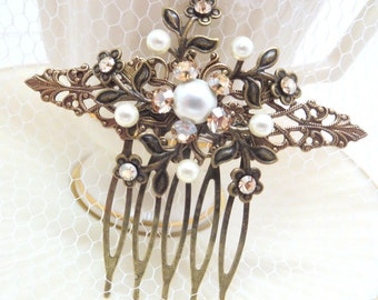 Bridal hair comb, Wedding headpiece, Vintage style hair comb, Champagne crysta comb, Swarovski crystals, Bridal hair clip, Antique gold