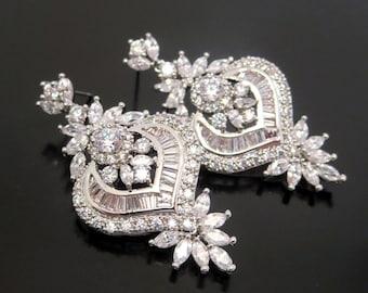 Crystal Bridal earrings, Crystal Wedding earrings, Bridal jewelry, Rhinestone earrings, Art Deco earrings, Vintage inspired earrings, EMMA