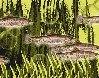 Fish Art, Salmon Trout, Aquatic Swimming, Green Pink, River Underwater, Wall Hanging, Home Decor, Vector Graphics, Giclee Print, 8 x 10